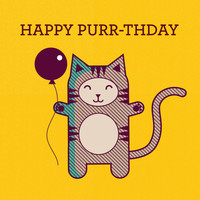 Happy Purr-thday Birthday Cat Card - Birthday Card - Funny Card - Animal Pun - Cat Lover