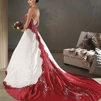 Buy Beautiful Elegant Satin Ball Gown Sleeveless Wedding Dress In Great Handwork
