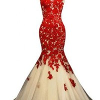 Sunvary Champagne and Red Mermaid Lace Prom Dresses for Evening Formal Gowns Long - US Size 10- Champagne and Red