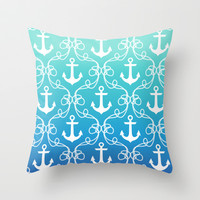 Nautical Knots Ombre Throw Pillow by Jacqueline Maldonado