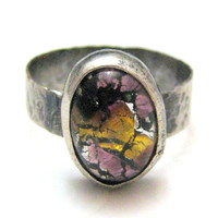 Abstract Hammered Ring Purple Mustard Fused by silverriverjewelry
