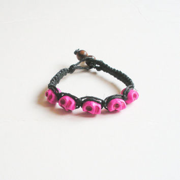 Black Hemp Bracelet with Hot Pink Skull Beads, ready to ship.