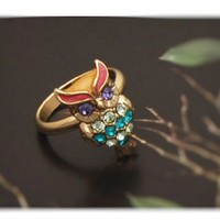 Colorful Rhinestone Owl Adjustable Ring | christinepurr - Jewelry on ArtFire