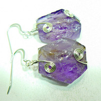 Ametrine rough cut earrings with silver spirals by 3cedarsjewelry