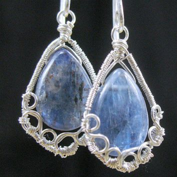 Wire Wrapped Kyanite Earrings True Blue Designer Earring Hooks | bohowirewrapped - Jewelry on ArtFire