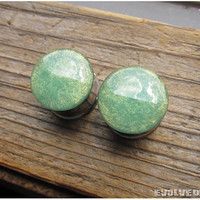 READY TO SHIP Lemon Lime Shimmer Plugs - 0g 8mm, 7/16 11mm