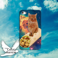 Cat On A Burrito Funny Space Galaxy Kitty Cool Tumblr Inspired Custom iPhone Case for iPhone 4 and 4s and iPhone 5 and 5s and 5c Case