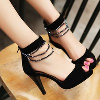 Wholesale Korea style beaded chains fish mouth sandals SY-C0657 black - Lovely Fashion