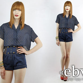Vintage 90s Navy + White Polka Dot Crop Top S M L Cropped Top Midriff Top Cropped Blouse Navy Blouse Polka Dot Blouse Cropped Shirt