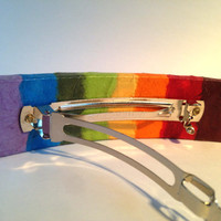 Rainbow Hanji French Barrette Hair Pin Patchwork Multicolor Bold Colors Sturdy Stainless Steel Barrette