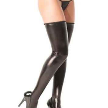 Coquette Women's Wet Look Thigh High Stockings