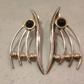 Terner 14K Onyx STERLING Earrings Gold Silver 925 70s 12 Grams Modernist Signed Black Stone Pierced Estate Bridal Goth Vintage Jewelry Boho