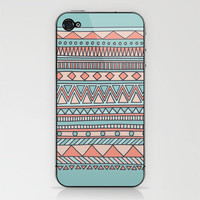 Tribal #4 (Coral/Aqua) iPhone & iPod Skin by haleyivers | Society6
