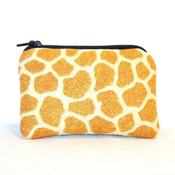 "Giraffe Print Cotton Padded Pipe Pouch 4"" / Glass Pipe Case / Spoon Cozy / Piece Protector / Pipe Bag / MINI"