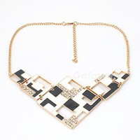 Fashion Rhinestone Squares Bib Chain Necklace at Online Jewelry Store Gofavor