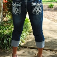 leather swirl white denim capris