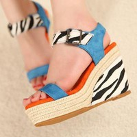Wholesale Leopard zebra pattern thick bottom grass-weaving wedges SY-C0670 blue - Lovely Fashion