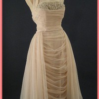 1950s Emma Domb Draped Mocha Chiffon Halter Party Dress-50s Vntage Dresses