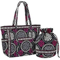 Vera Bradley Signature Print Get Carried Away Tote & Ditty Bag — QVC.com