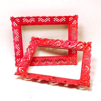 upcycled frames // vintage kitsch neon pink decor by nashpop