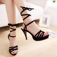 Wholesale Western style simple joker cross bandage sexy sandal Z-GXZ9185 black - Lovely Fashion