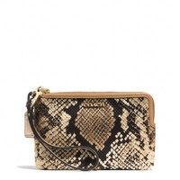 MADISON L-ZIP SMALL WRISTLET IN PYTHON PRINTED FABRIC