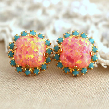 Opal Peach Orange Turquoise Stud earrings Swarovski Crystal earring bridesmaid jewelry Gift for woman thick Gold plated rhinestone earrings