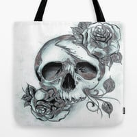 Skull & Roses Tote Bag by Robin Curtiss | Society6