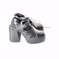early 90s stacked toe bell heel black leather club kid kawaii platform sandals size 6 7