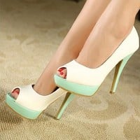 Women's PU Mixed Color Peep Toe High Heeled 040714 HSDP0516