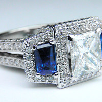 Engagement Ring - Princess Diamond Engagement Ring Square Halo and Trapezoids Blue Sapphire side stones - ES718