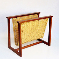 Mid-Century Wood and Wicker Magazine Rack