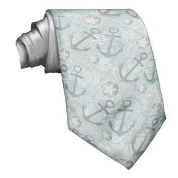 Nautical Anchors and Stars Tie