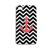 Cute Custom Anchor Phone Case Beautiful Chevron Cover iPhone 5 5c 5s iPhone 4 4s