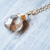 Copper Quartz Necklace 14kt Gold Fill Wire Wrapped by starletta