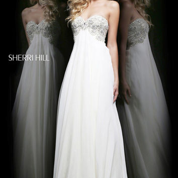 Sherri Hill 3903 - Blue Strapless Beaded Chiffon Prom Dresses Online