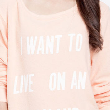 I Want To Live On An Island Sweatshirt in Peach by WILDFOX at TAGS