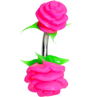 Pink Silicone Double Rose Belly Ring | Body Candy Body Jewelry