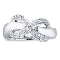 Sterling Silver Diamond Accented Infinity Woman&#x27;s Ring
