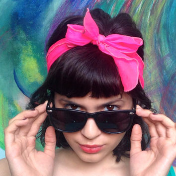 Vintage 50s Rockabilly Hot Neon Pink Sheer Chiffon Bow Hair Wrap Head Scarf / Bright Pink Tie Up Headband Headscarf