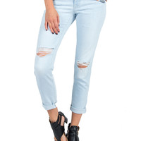 Flying Monkey - Light Washed Rolled Up Distressed Jeans