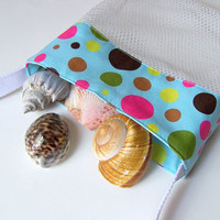 Mesh Beach Bag  Blue with Pink Polka Dots  Shell by MaidenJane