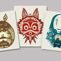 All 3 Posters - my neighbor totoro, princess mononoke, spirited away - papercut style print - ghibli, movie poster, wall art, decor