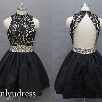 little black homecoming dress, short high-neck homecoming dress, a-line prom dress on sale, new arrival prom dress  5139
