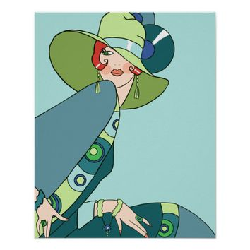 Shelby, 1920s Lady in Aqua and Teal