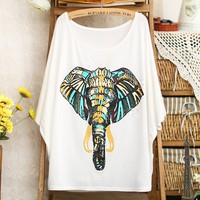 Pomelo Elephant Batwing T-shirt For Women