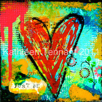 Just Be 7x7 Signed Mixed Media Art Print by KathleenTennant