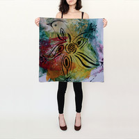 Bird Flower Silk Scarf by JUSTART (Square Scarf (26