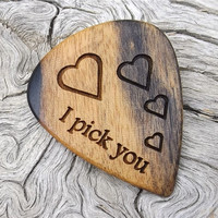 Handmade Premium Wood Guitar Pick - Black and White Ebony - Laser Engraved Both Sides