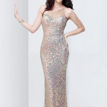 Primavera 9703 Sequin Evening Dress